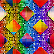 Abstract 3d Geometrical Seamless Background. Rainbow Colored Rectangles On Rainbow Colored Mosaic stock vector