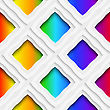 Abstract 3d Geometrical Seamless Background. Rainbow Colored Rectangles Holes And Rim With Cut Out Of Paper Effect stock illustration