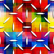 Abstract 3d Geometrical Seamless Background. White Small Ovals On Rainbow Layer With Cut Out Of Paper Effect
