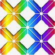 Abstract 3d Geometrical Seamless Background. White Rectangles And White Ornament With Cut Out Of Paper Effect On Rainbow Colored Background stock vector