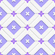 Abstract 3d Seamless Background. Diagonal Purple Floristic In Frame Pattern With Cut Out Of Paper 3d Effect