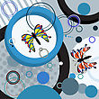 Abstract Art Composition With Stylized Butterflies And Circles. stock illustration