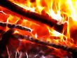 Abstract Background - Burning Wood In Bright And Hot Fire stock photo