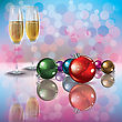 Abstract Background With Christmas Decorations And Champagne