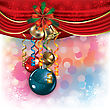 Abstract Background With Christmas Decorations Bells And Bow