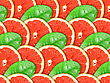 Abstract Background With Citrus-fruit Of Grapefruit Slices And Green Leaf With Dew For Your Design. Close-up. Studio Photography.