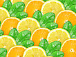 Abstract Background With Citrus-fruit Of Orange, Lemon Slices And Green Leaf With Dew For Your Design. Close-up. Studio Photography.