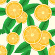 Abstract Background With Citrus-fruit Of Orange Slices And Green Leaf. Seamless Pattern. stock vector