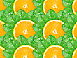 Abstract Background With Citrus-fruit Of Orange Slices And Green Leaf With Dew For Your Design. Close-up. Studio Photography.