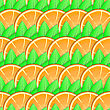 Abstract Background With Citrus-fruit Of Orange Slices And Green Leaf For Your Design. Seamless Pattern. Vector Illustration. stock vector
