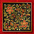 Abstract Background With Cracked Red Floral Ornament On Black