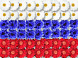 Abstract Background Of Flowers As Russia Flag. Close-up. Studio Photography stock photo