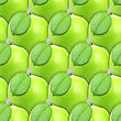 Abstract Background Of Fresh Green Apples With Leaf. Seamless Pattern For Your Design. Close-up. Studio Photography.