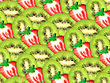 Abstract Background Of Fresh Green Kiwi And Red Strawberry Slices For Your Design. Close-up. Studio Photography. Attention - It Is Not A Seamless Pattern.