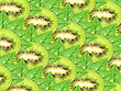 Abstract Background Of Fresh Kiwi Slices And Green Leaf For Your Design. Close-up. Studio Photography.