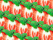 Abstract Background Of Fresh Strawberry Slices And Green Leaf For Your Design. Close-up. Studio Photography. Attention - It Is Not A Seamless Pattern. stock photo