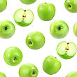 Abstract Background With Green Fresh Apples Seamless Pattern For Your Design Close-up Studio Photography