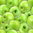Abstract Background Of Heap Fresh Green Apple. Seamless Pattern For Your Design. Close-up. Studio Photography. stock photo