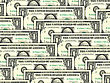 Abstract Background Of Money Pile 1 USA Dollars Bills For Your Design. Studio Photography.