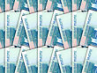 Abstract Background Of Money Pile 1000 Russian Rouble Bills. Studio Photography.
