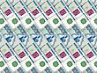 Ruble Abstract Background Of Money Pile 1000 Russian Rouble Bills. Studio Photography. stock photography