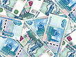 Abstract Background Of Money Pile 1000 Russian Rouble Bills. Studio Photography. stock photo