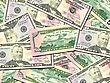 Abstract Background Of Money Pile 50 USA Dollars Bills For Your Design. Studio Photography.