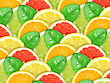 Abstract Background With Motley Citrus-fruit Slices And Green Leaf With Dew For Your Design. Close-up. Studio Photography.