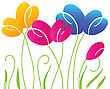 Abstract Background With Multicolored Bright Tulip Flowers