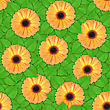 Abstract Background Of Orange Flowers And Green Leaf. Seamless Pattern For Your Design. Close-up. Studio Photography. stock photo