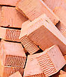 Abstract Background Of Red Bricks For Your Design. Close-up stock image