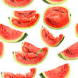 Abstract Background With Red Fresh Slices Of Watermelon Seamless Pattern For Your Design Close-up Studio Photography stock photo