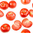 Abstract Background With Red Fresh Tomatos Seamless Pattern For Your Design Close-up Studio Photography stock photo
