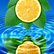 Abstract Background Of A Reflect Lemon-slice And Green Leaf In Blue Water. Close-up stock photo