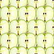 Abstract Background With Slices Of Fresh Green Apple. Seamless Pattern For Your Design. Close-up. Studio Photography.