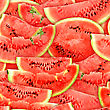 Abstract Background With Slices Of Fresh Ripe Red Watermelons. Seamless Pattern For Your Design. Close-up. Studio Photography.