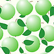 Abstract Backgrounds With Green Apples And Leaf. Seamless Pattern.