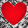 Abstract Black And Gray Background Of The Squares With Red Heart