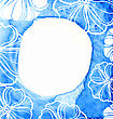Abstract Blue Frame On Textured Watercolor Paper. Watercolor Painted Frame With Flowers