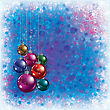 Abstract Blue Greeting With Christmas Decorations And Snowflakes