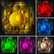 Abstract Bubbles And Lines On Bright Background (set Of Six Colours)