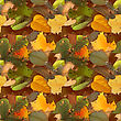 Abstract Camouflage Background With Natural Autumn Foliage. Seamless Pattern. Close-up
