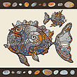 Abstract Cartoon Sea Fish. Hand Drawn Vector Pattern
