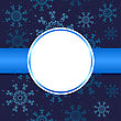 Abstract Christmas Background. Christmas Snowflakes And Circle For On Blue Background. Christmas Card Design. Christmas Poster, Banner, Card Or Web Design With Snowflake