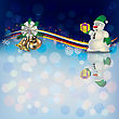Abstract Christmas Background With Snowman And Bells