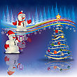 Abstract Christmas Background With Snowmen And Tree
