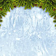 Abstract Christmas Backgrounds With Xmas Decorations Over Iced Texture