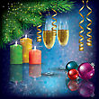 Abstract Christmas Blue Greeting With Champagne And Decorations
