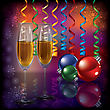 Abstract Christmas Dark Greeting With Champagne And Decorations