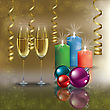 Abstract Christmas Gold Greeting With Champagne And Candles